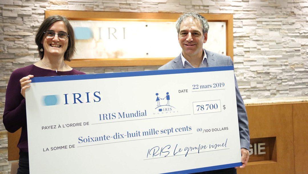 Un don de 78 700 $ provenant du mois IRIS Mundial